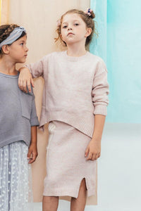 Lily Knitted Girl Dress Set, Dusty Pink