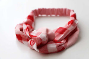 Gingham Hair Band-White and Red