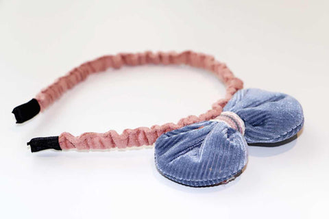 Big Bow Hairband - Natalie-Dusty Blue