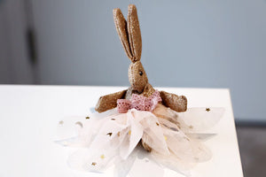 Large Rabbit Hair Pin-Dusty Cream