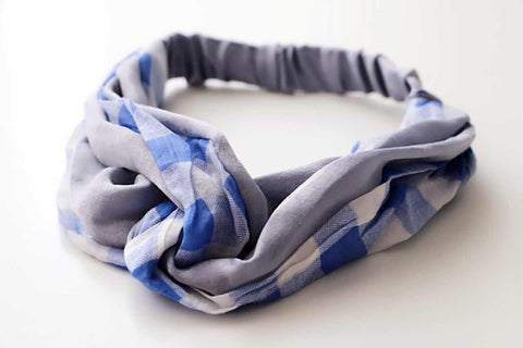 Gingham Hair Band-Blue and Grey