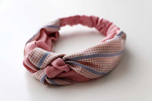 Gingham Hair Band-White and Pink