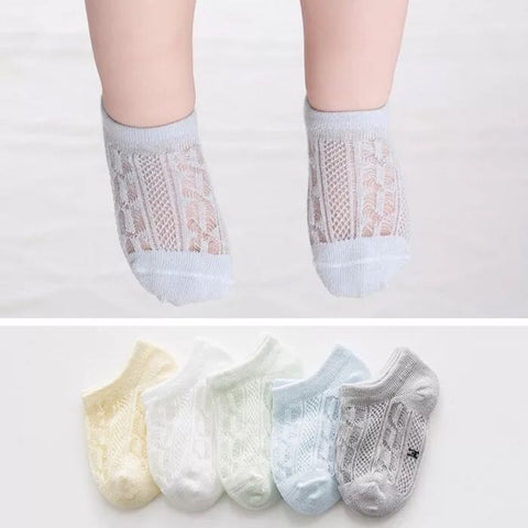 5 Pairs of Cotton Rich Trainer Liner Socks-Boy Twisted Pattern