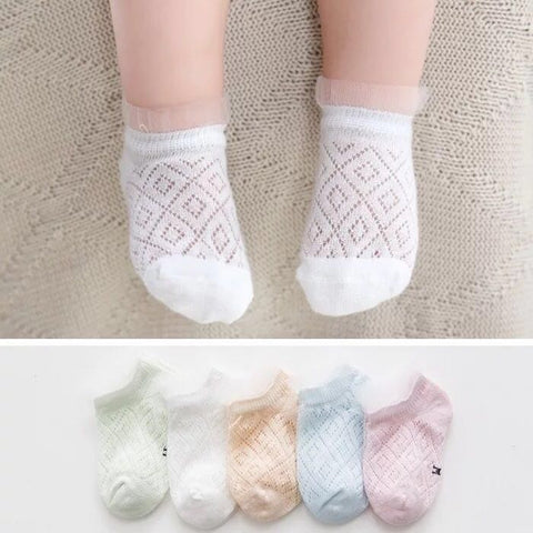 5 Pairs of Cotton Rich Trainer Liner Socks-Girl Diamond Pattern