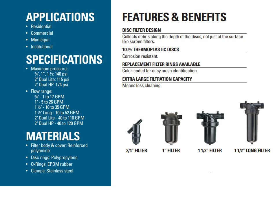 Netafim Manual Disc Filter Specifications