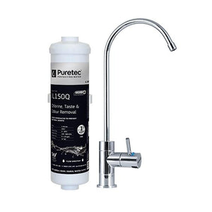 Puretec X4 Series | Incline Undersink Water Filter System with High Loop LED Faucet