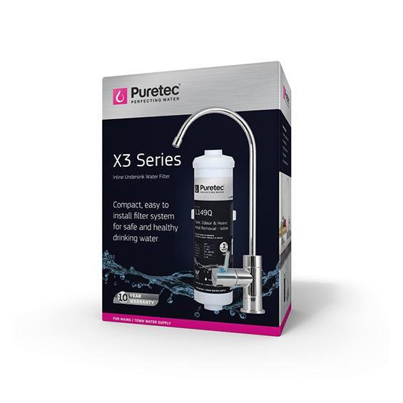 Puretec X3 Series | Inline Undersink Water Filter System with High Loop Faucet