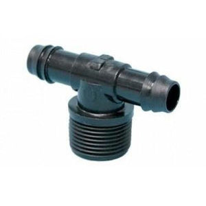 "Barb Connector 16mm to 3/4"" Threaded Male Tee-Irrigation Supplies-Land and Water Technology"