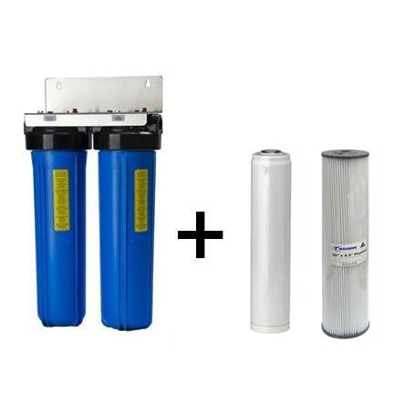 "Twin Whole House Filter System Complete 20"" x 4.5"" (With Cartridges)"