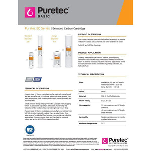 Puretec EC Series | Extruded Carbon Block / Coconut Carbon Cartridges-Water Purification-Land and Water Technology