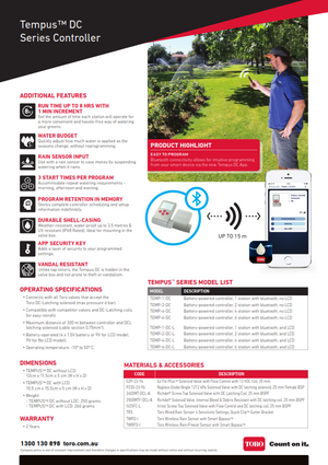 Toro Tempus DC Battery Powered Bluetooth Controller Catalogue