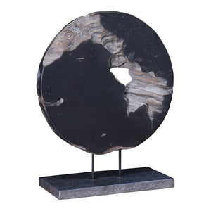 Round Teak Wood Art Weathered Grey Small