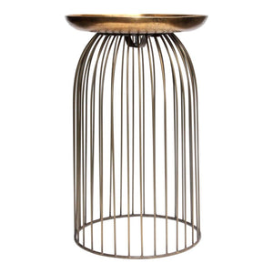 Aviary Accent Table Small Antique Brass