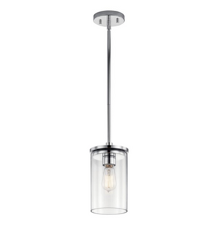 "Crosby 10.75"" 1 Light Mini Pendant with Clear Glass - Chrome - IN STOCK"