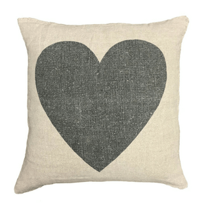 Black Heart Linen Pillow