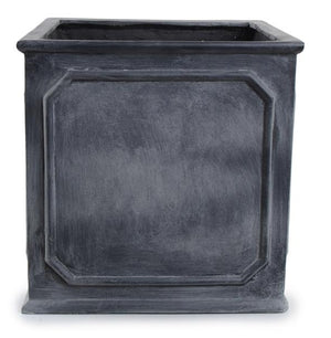 "Bordered Fiberglass Cube Planter with Lead Finish - 24""W"
