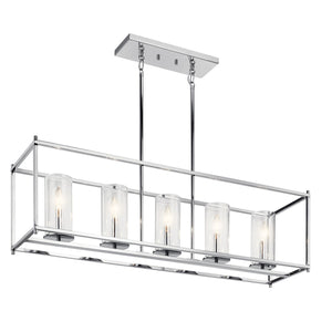 "Crosby 13.75"" 5 Light Linear Chandelier with Clear Glass"