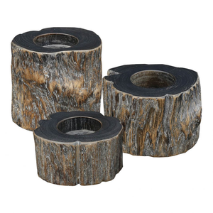 Teak T-lite Holders - Weathered Grey - Set Of 3