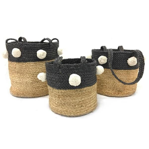 Jute Basket with Pom Poms (3 size options)