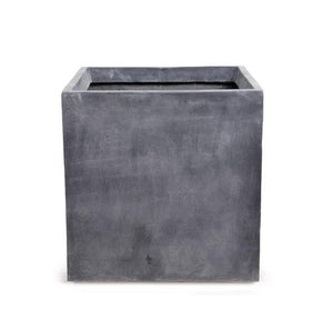 "Fiberglass Cube Planter with Lead Finish - 12""W"