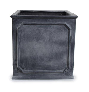 "Bordered Fiberglass Cube Planter with Lead Finish - 20""W"