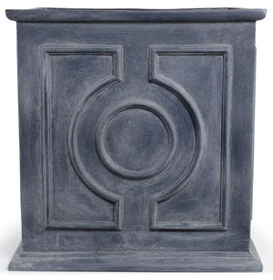 "Decorative Fiberglass Cube Planter with Lead Finish - 31.5""W"