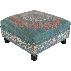 "Surat Ottoman-001 - Top: Cotton, Base: Wood 32"" x 32"" x 16"""