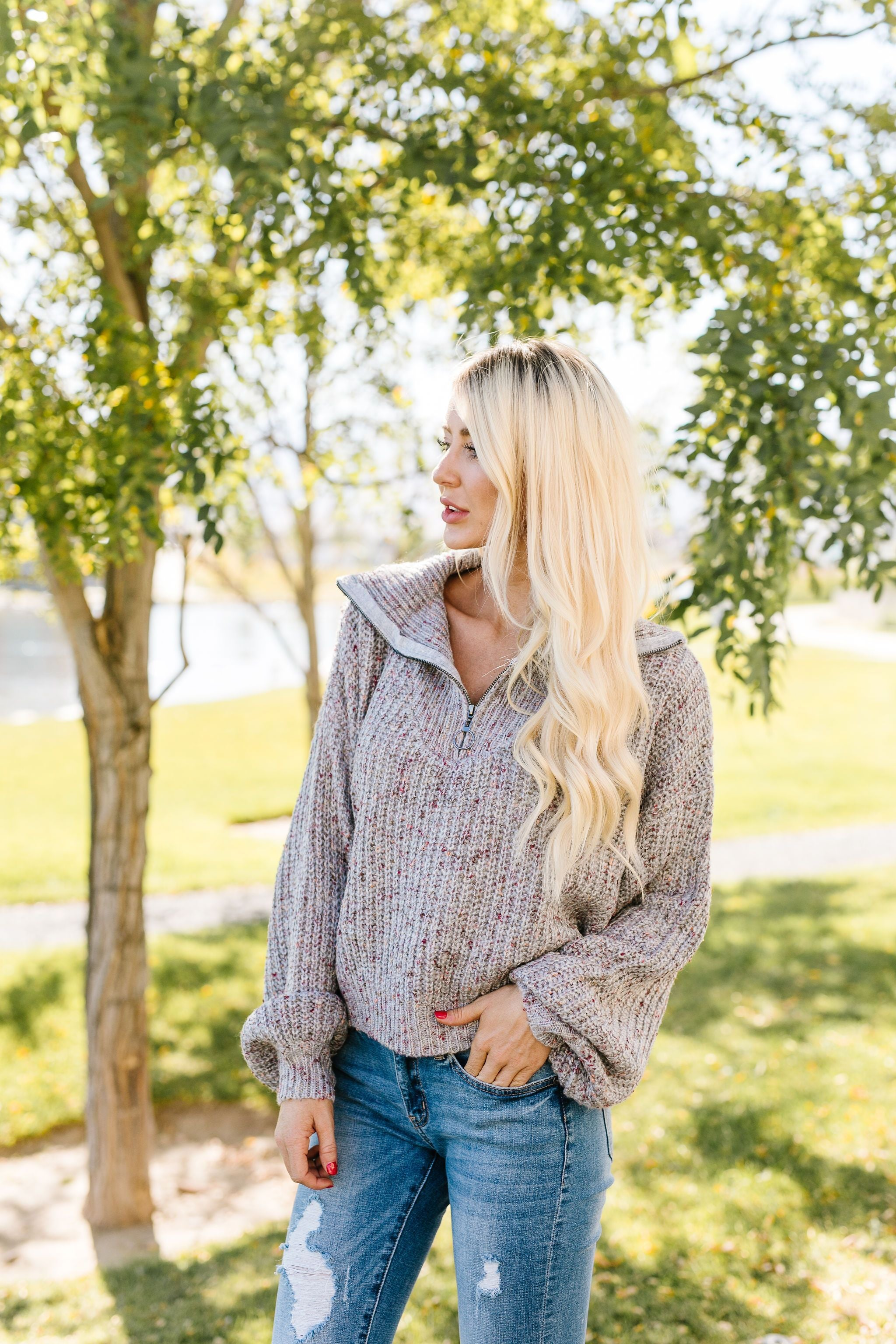 Speckled Gray Pullover Sweater