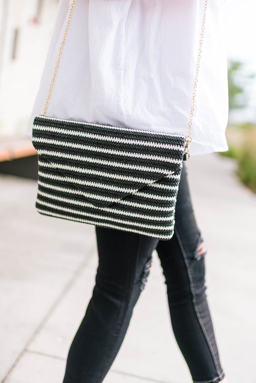 Striped Clutch + Chain