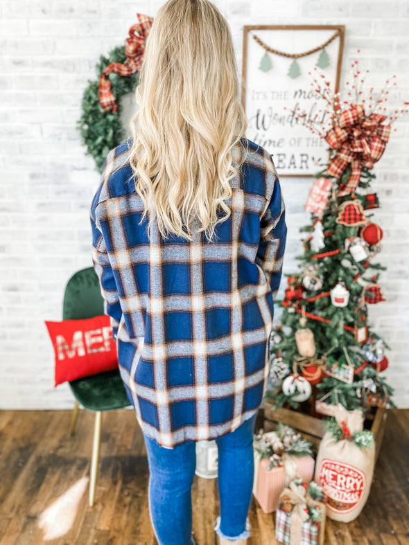 Reese Loose Fitting Plaid Button Down Top- Navy