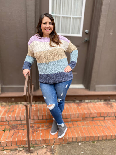 Shelby Sweater- Taupe/Cream - Texas Bling