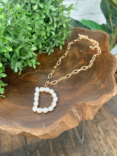 Pearl Initial Letter Necklace- D