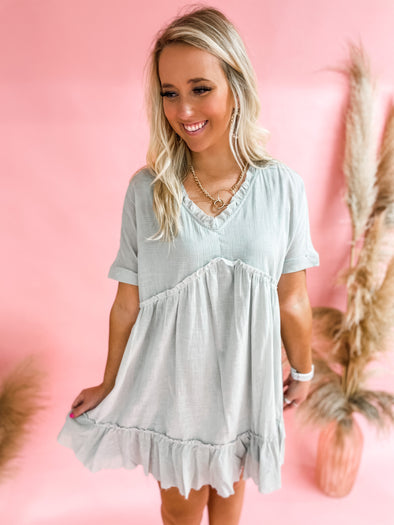 Dede Babydoll Ruffle Tunic Dress- Light Blue
