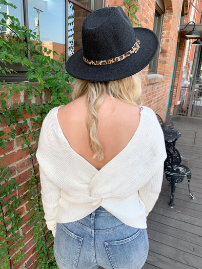 Delilah Open Twist Back Detail Sweater- Ivory