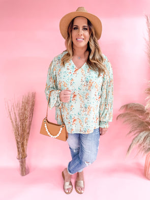 Henley Floral Print Pleated Sleeve Top- Sage