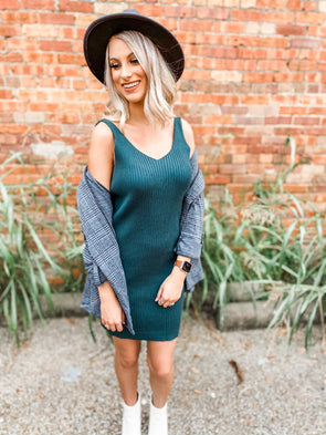 Bethany Ribbed Sleeveless Sweater Dress- Hunter Green