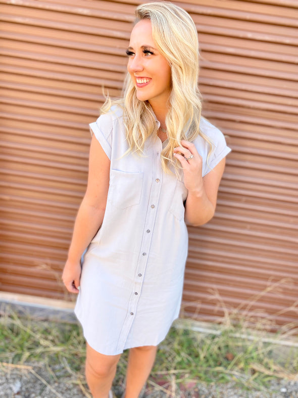London Washed Button Down Dress- Blue