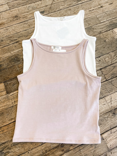 Brielle High Neck Tank- Desert Taupe