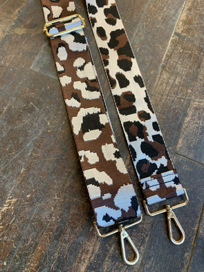 Bag Strap- Black/Coffee/White Leoaprd Adjustable Strap