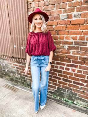 Madison Off the Shoulder Bubble Sleeve Crop Top- Wine