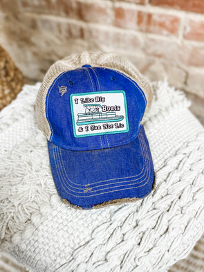 I Like Big Boats Patch Hat- Denim Blue