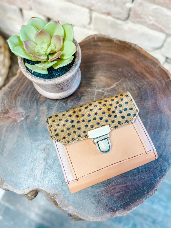 Coco Leather Wallet- Orange/Spotted