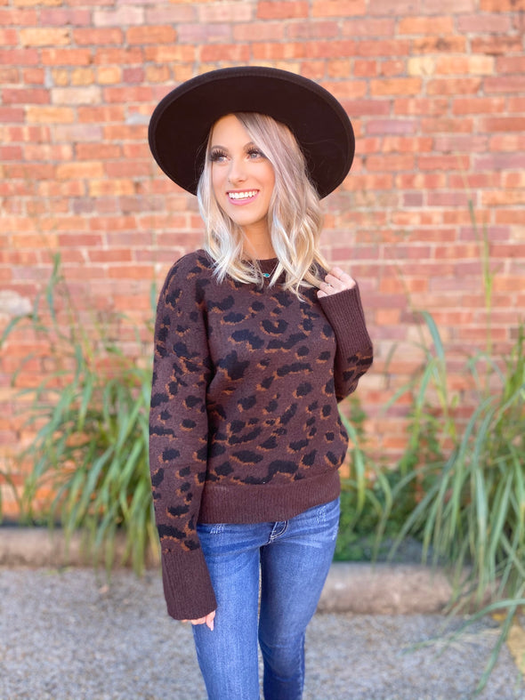 Cadence Leopard Print Sweater- Chocolate