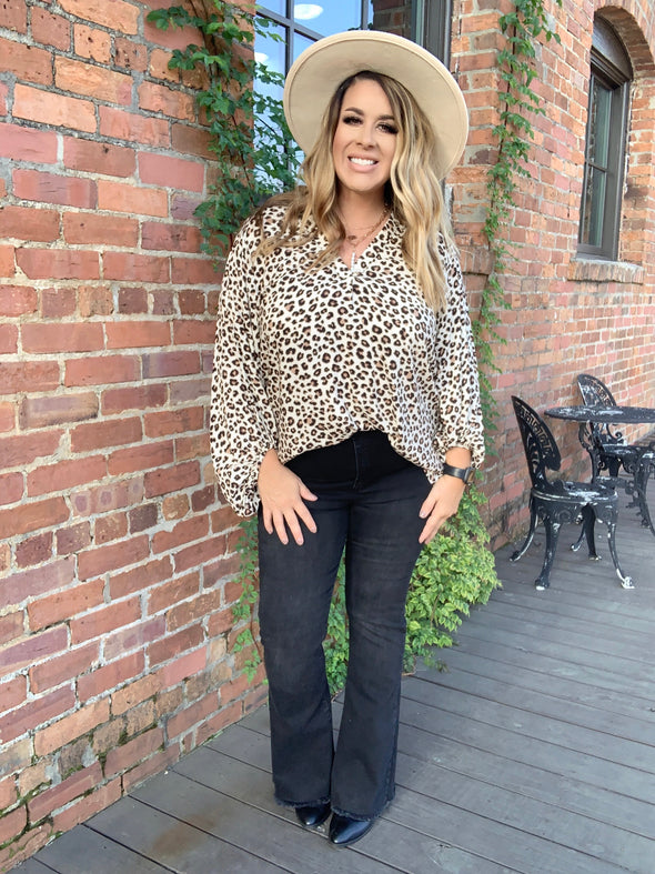 Lucille L/S Animal Print Top