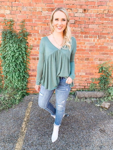 Adele One-Tiered Deep V-Neck Top- Sage
