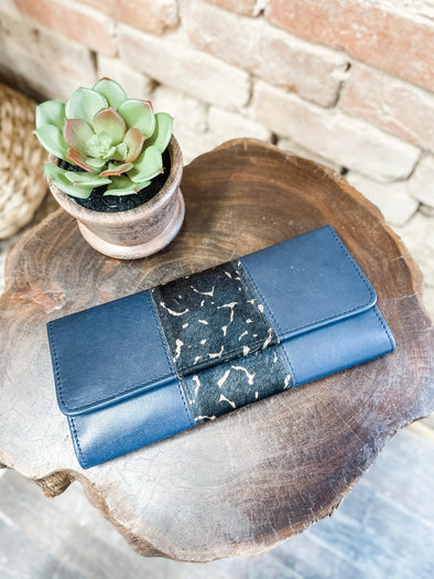 Bria Leather Wallet- Navy/Cow