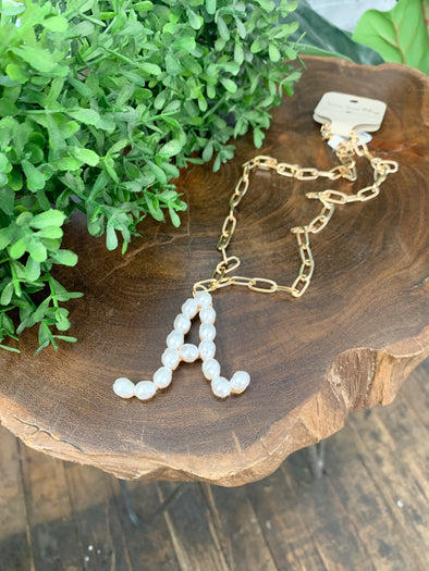 Pearl Initial Letter Necklace- A