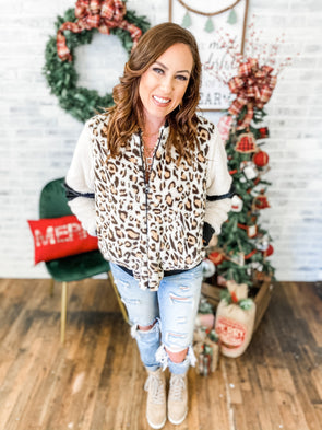 Dasher Leopard Bomber Fur Jacket