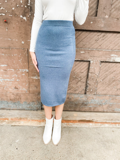 Abby Soft Ribbed Knit Skirt- Denim