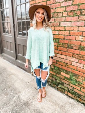 Iris Solid 3/4 Sleeve Hi Low Knit Sweater- Mint Sage